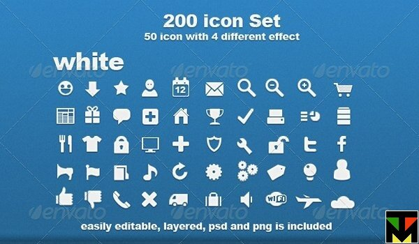 200 icon set with 4 different effect — набор иконок от